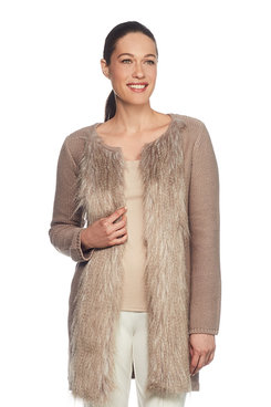 Image: Petite Fur Trim Cardigan Sweater