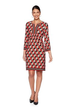 Image: Petite Geo-Puff Border Print Knit Dress