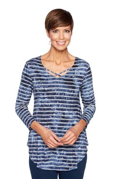 Image: Petite Heather Stripe Knit Top