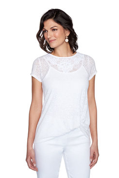 Image: Petite Lace Burnout Short Sleeve Top