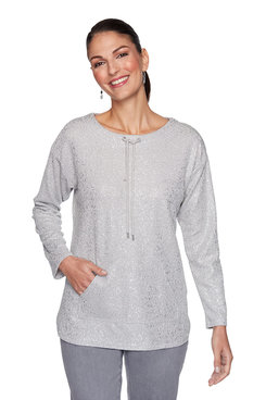 Image: Petite Metallic Puckered Knit Pullover