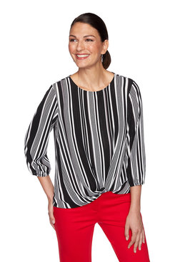 Image: Petite Metallic Tuxedo Striped Top
