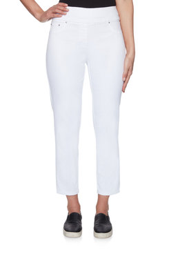 Image: Petite Mid-Rise Extra Stretch Pull-On Denim Ankle Pant