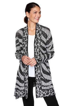 Image: Petite Mixed Animal Print Cardigan