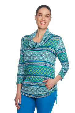Petite Mixed Foulard Stripe Pullover
