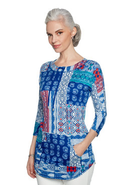 Image: Petite Mixed Pattern Patchwork Print Jersey Top