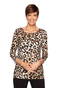 Image: Petite Ombre Animal Print Top