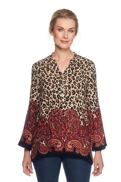 Image: Petite Paisley and Animal Printed Top