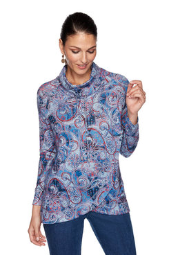 Image: Petite Paisley Heather Cowl Neck Pullover