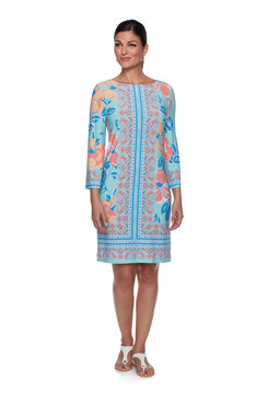 Image: Petite Paisley Placement Print Knit Dress