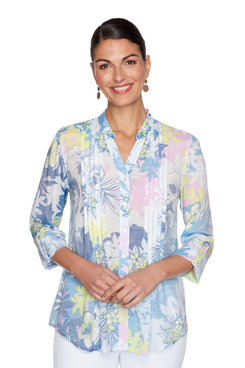 Image: Petite Pleated Floral Patchwork Printed Button-Up Top