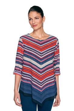 Image: Petite Pointed Striped Top