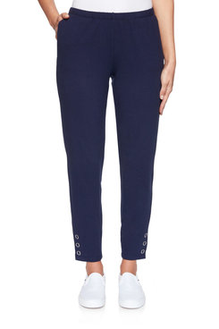 Image: Petite Pull-On Extra Stretch Buttoned Hem Pant