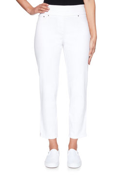 Image: Petite Pull-On Extra Stretch Colored Denim Ankle Pant