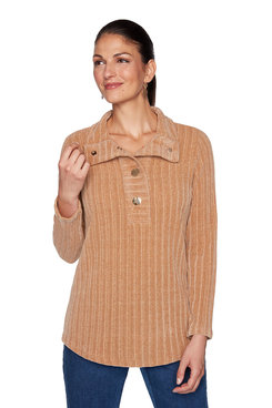 Image: Petite Ribbed Chenille Pullover
