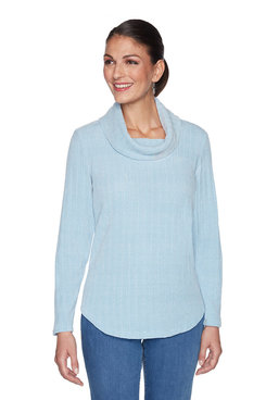 Image: Petite Ribbed Chenille Striped Pullover