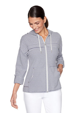 Image: Petite Soft Peached Striped Hooded Jacket