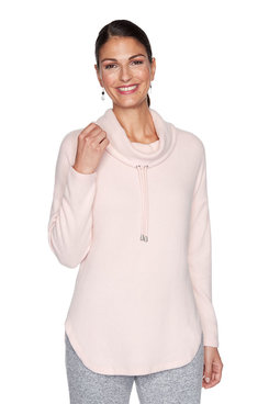 Image: Petite Solid Cozy Knit Pullover