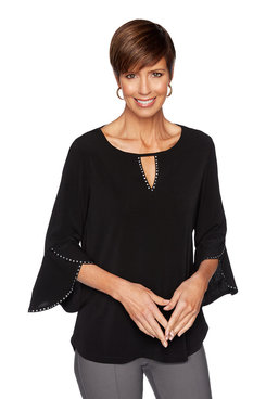 Image: Petite Solid Crepe Knit Top