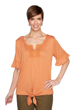 Image: Petite Solid Gauze Top