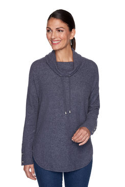 Image: Petite Solid Heather Cowl Neck Pullover