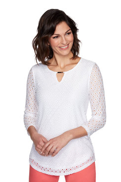 Image: Petite Solid Knit Eyelet Top