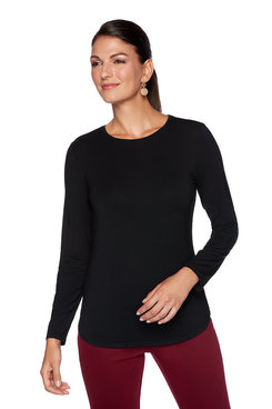 Image: Petite Solid Scoop Neck Top