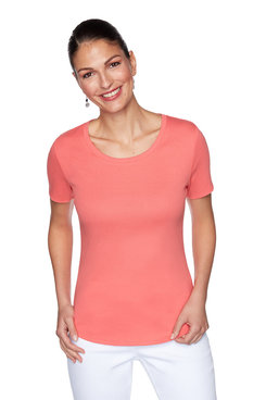 Image: Petite Solid Short Sleeve Top