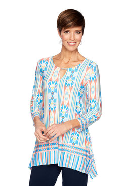 Image: Petite Split-Neck Ikat Print Top