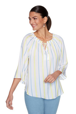 Image: Petite Split-Neck Striped Tassel Top