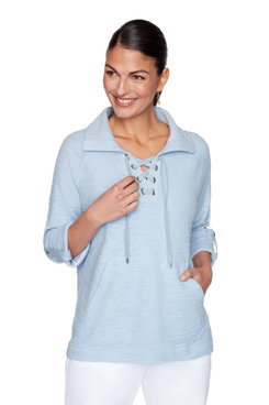 Image: Petite Sporty Solid Knit Lace Up Pullover