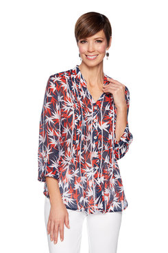 Image: Petite Stand Collar Printed Top