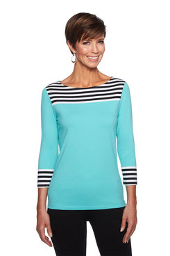 Image: Petite Stripe Yoke Top