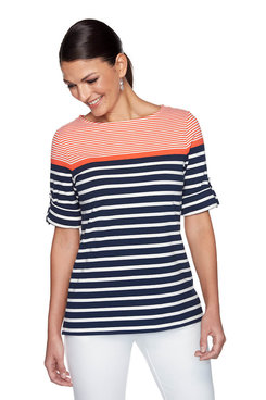 Image: Petite Striped Color Blocking Top