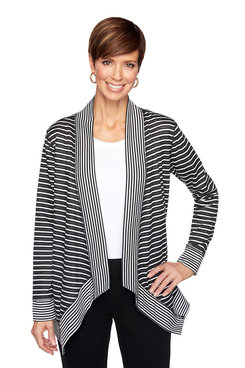 Image: Petite Striped French Terry Cardigan