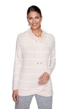 Image: Petite Striped Heather Cowl Neck Pullover