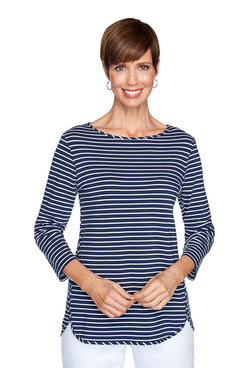 Image: Petite Striped High-Low Top