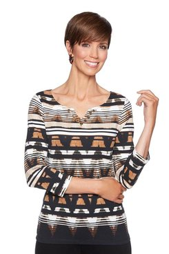 Image: Petite Striped Ikat Top