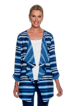Image: Petite Striped Open Front Jacket