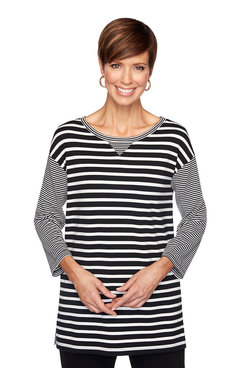 Image: Petite Striped Ruched Pullover