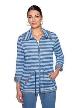Image: Petite Striped Slub Terry Jacket