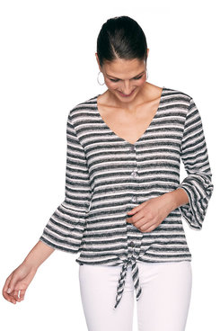 Image: Petite Striped Tie-Front Top
