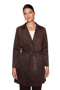 Image: Petite Suede Trench Coat