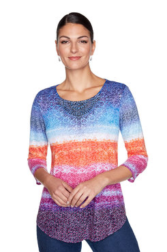 Image: Petite Sunset Medallion Printed Top