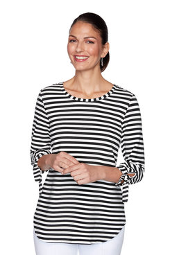 Image: Petite Terry Stripe Top