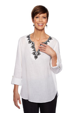 Image: Petite Textured Embroidered Gauze Top