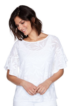 Image: Petite Textured Fern Patterned Top