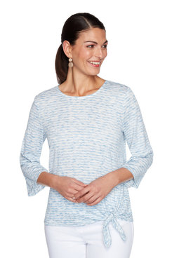 Image: Petite Textured Striped Space-dye Top