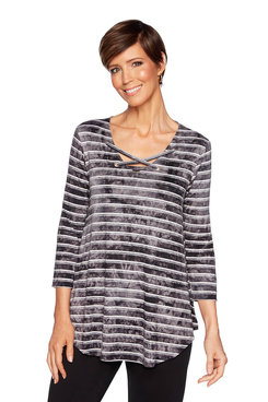 Image: Petite Tie Dye Striped Top