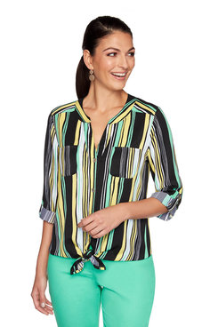 Image: Petite Tropical Striped Top
